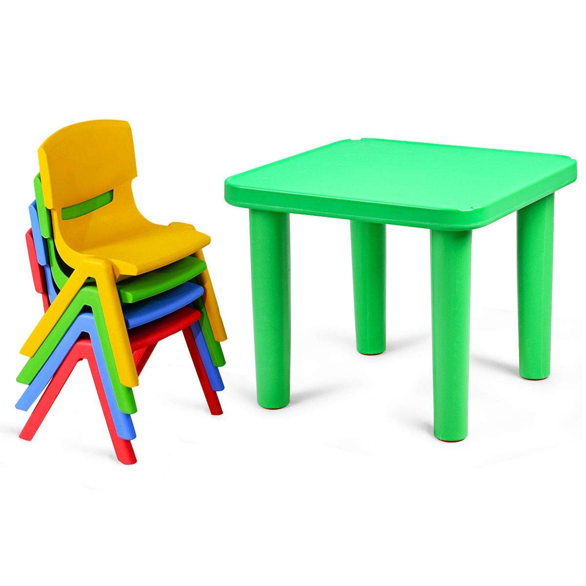 Costzon Kids Plastic Table, Chair Learn and Play Activity Set, School Home Furniture (Square Table & Chair Set)