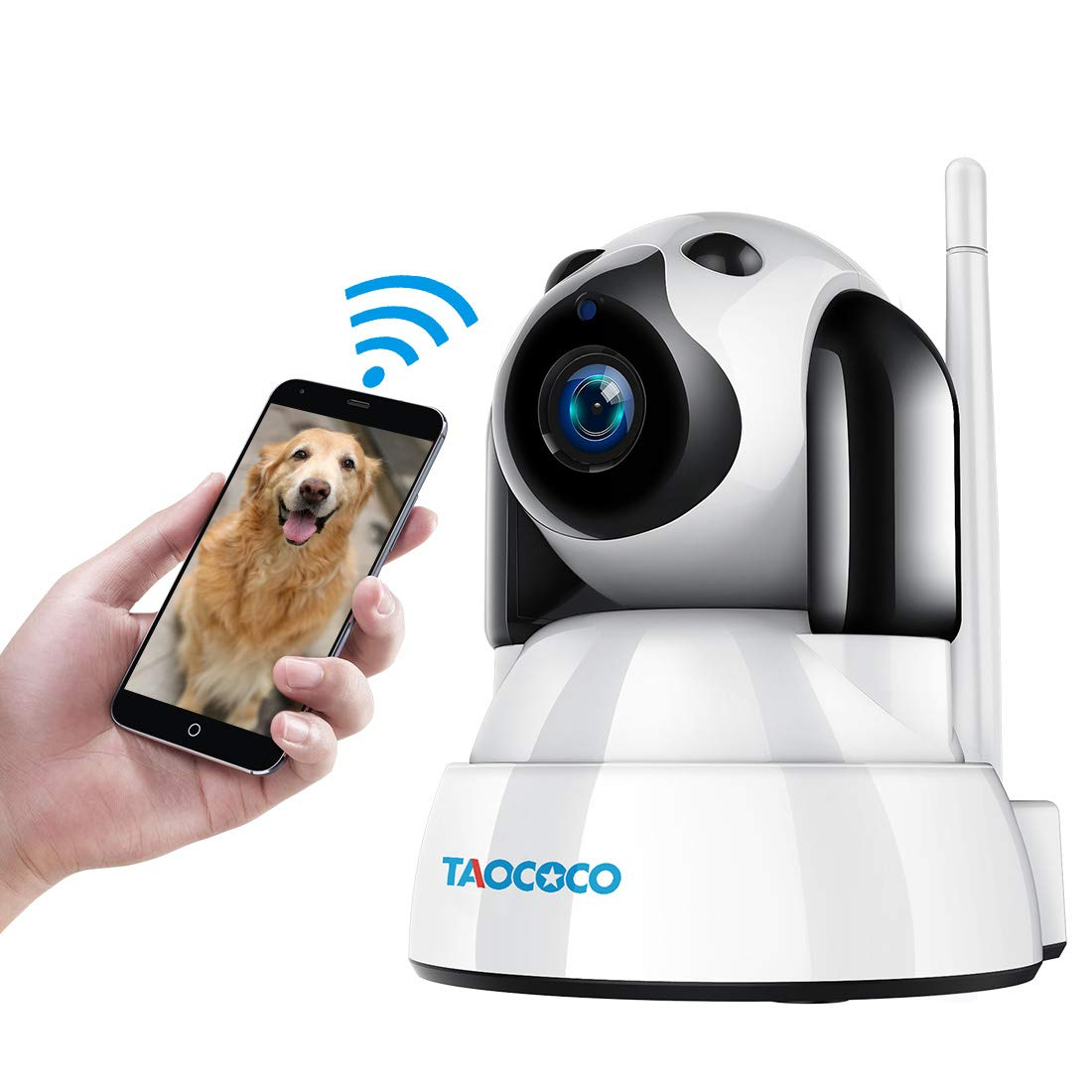 TAOCOCO Dog Pet Camera, 720P WiFi IP Camera, Wireless Surveillance Security Camera, Home Baby Monitor Nanny Cam with Smart Pan/Tilt/Zoom, Motion Detection, Two Way Talking, Infrared Night Vision