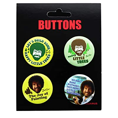 NMR Bob Ross Carded Button 4-Pack - Various Quotes: Toys & Games [5Bkhe1902571]