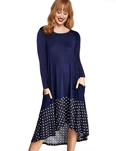 aee6a8dcc2f AMZ PLUS Women's Casual Long Sleeve Polka Dot Splicing High Low Hem Plus  Size Midi T-Shirt Dress with Pockets