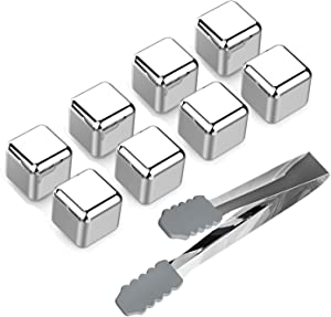 Stainless Steel Ice Cubes Whiskey Stones (Set of 8), Reusable Chilling Beverage Rocks with Freezing Tray & Tongs, Gift Set for Whiskey, Wine, Beer, Vodka, Liqueurs, Drinks Cooler