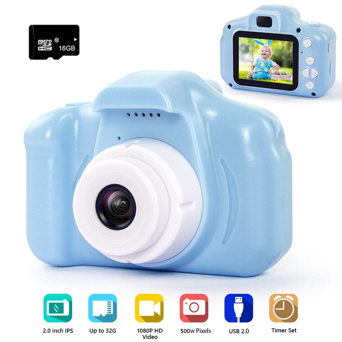 hyleton Digital Camera for Kids, 1080P 5MP HD Kids Digital Video Camera with 2 inch IPS Screen and 16GB SD Card (Light Blue)
