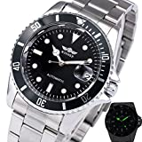Fanmis Men's Luminous Calendar Rotatable Bezel Black Dial Stainless Steel Automatic Mechanical Watches Silver