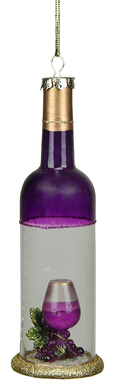 Northlight Toscana Bodega Morado Transparente para Botella de Vino de Cristal Adorno de Navidad, 7