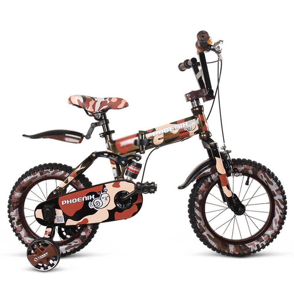 HAIZHEN マウンテンバイク チャイルドフォールド自転車3-6-8歳のベビーベビーカー12インチ14インチ16インチバイク 新生児 B07CCKSPJQブラウン ぶらうん 14Inch