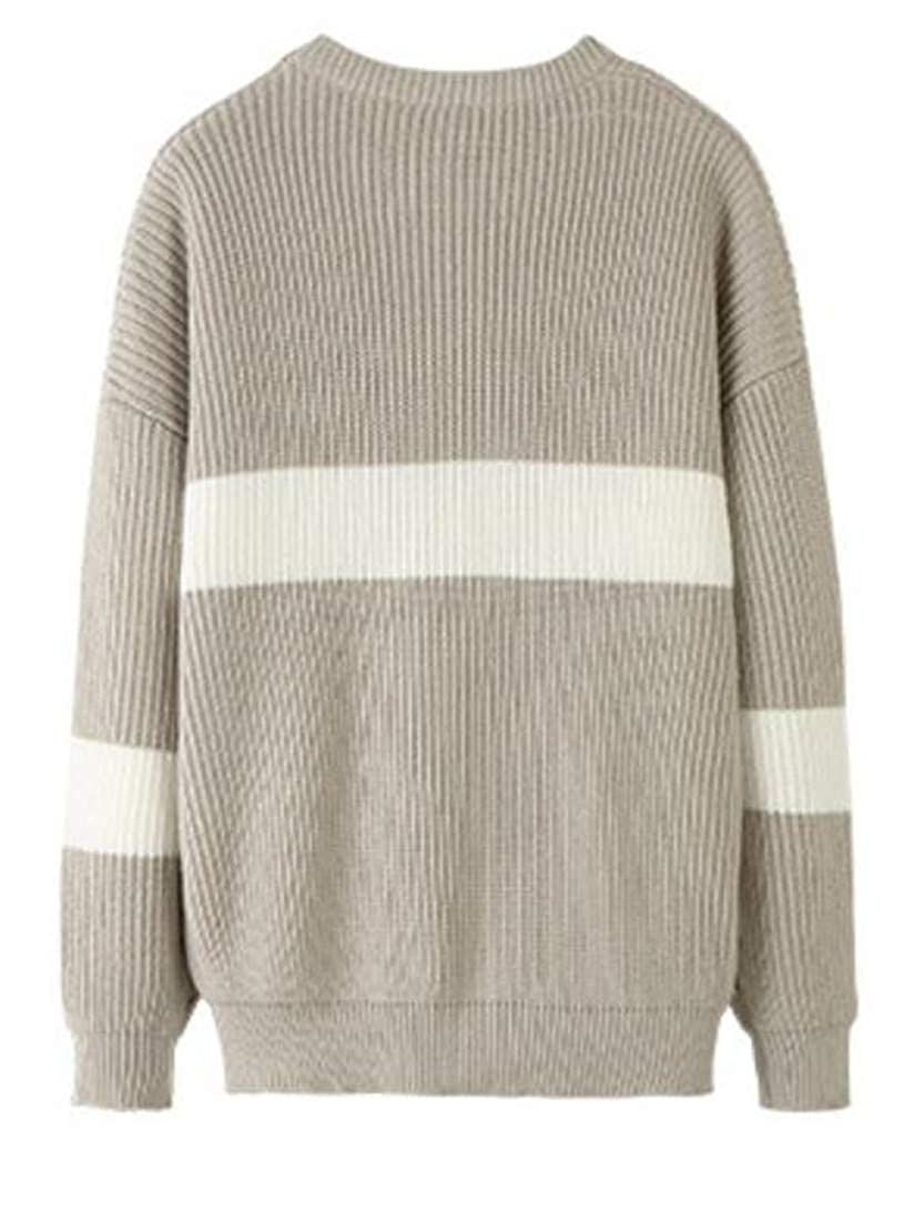 Sweatwater Mens Pullover Round-Neck Loose Fit Ribbed Knit Contrast Colors Jumper Sweaters