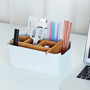 Natural Bamboo Wooden Multi-Function Tissue Box 4 Compartment Desk Organizer Remote Control Holder Tissue Dispenser Stationary Organizer for Home and Office Use