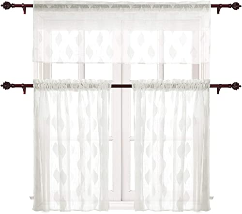 Deconovo Semi-Rod Poket 3 Pieces Leaf Jacquard Sheer Tier Curtains and Valance Set for-Kitchen, 59×18 Inch 1 29×36 Inch 2 , Off White