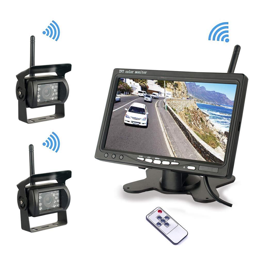 Camecho Syst/ème de cam/éra de recul sans Fil Caravane remorque Double cam/éra de recul sans Fil 2,4 GHz Vision Nocturne /étanche Bus Moniteur sans Fil 7 Pouces 12V 24 V pour Camion