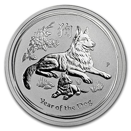 2018 AU Australia 1/2 oz Silver Lunar Dog BU 1/2 OZ Brilliant Uncirculated