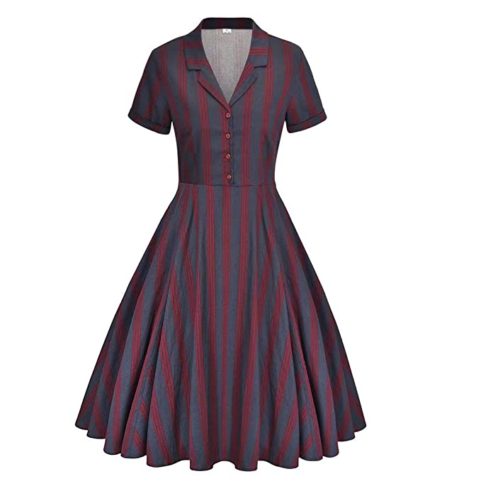 Vintage Shirtwaist Dress History Womens 1950s Vintage Dress Cape Collar Vintage Swing Dresses with Pockets $59.99 AT vintagedancer.com
