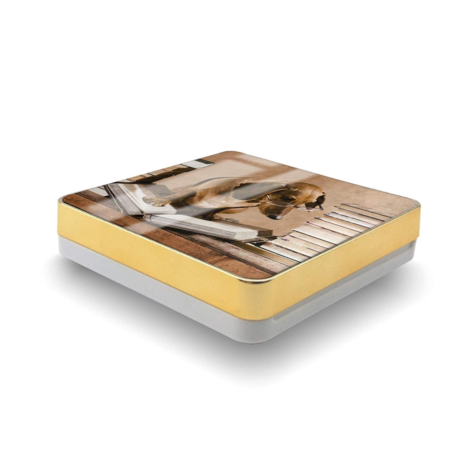 Cosmetic Container Wise Dachshund Dog Professor reading Book Air Cushion Powder Puff Case Holder With Powder Puff Sponge And Mirror Portable Make-Up Foundation Bb Cream Box Storage 15g
