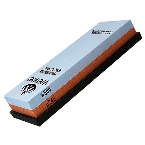 240/800 Grit Cuchillo Piedra de afilar combinación corindón piedra de afilar para cuchillos de cocina Santoku, de goma soporte incluido