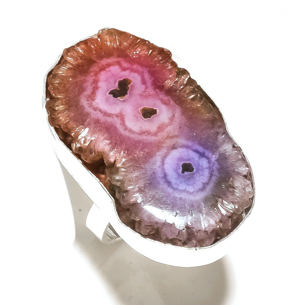 Handmade Biocolor Solar Druzy 925 Sterling Silver Plated 14 Grams Ring Size 8 US Sizable