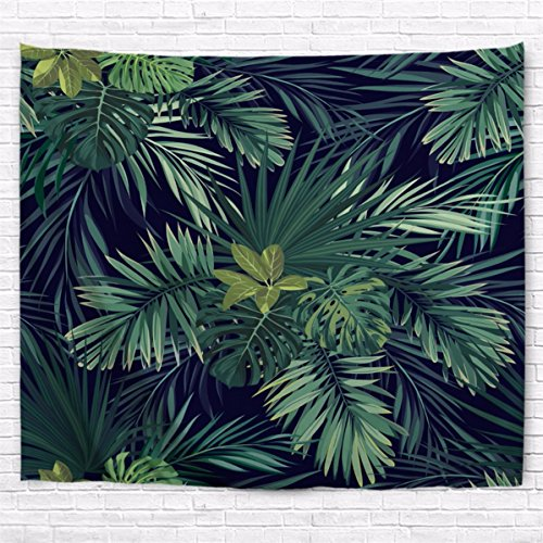 A.Monamour Tropical Dark Green Banana Palm Tree Leaf Plants Themed Print Fabric Tapestry Wall Hangings Blanket Bohemian Bedspread Cover Hippie Beach Towels Bedroom Living Room Dorm 229X153Cm/90