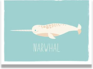Kindred Sol Collective Narwhal Nautical Whales Nursery Decor - 11x14 Professional Grade Print- Educational & Beautiful Ocean Theme Wall Art Poster for Bedrooms, Playrooms, or Classrooms