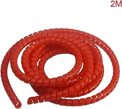 Cable de bobinado en espiral de 8 mm adaptador de auriculares tubo de protecci/ón protector de cable tipo C rojo organizador de tuber/ías