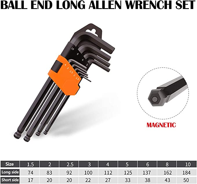 9-Piece Free Shippi OEMTOOLS 24261 Long Magnetic Hex Ball End Key SAE Set New