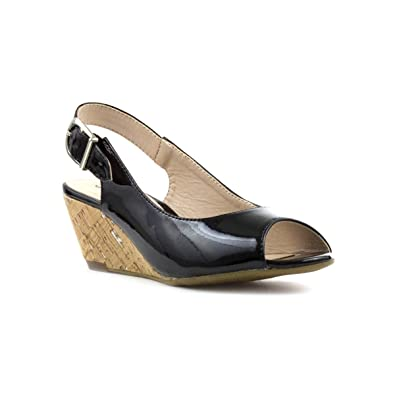 32ad408466c Comfort Plus Wide Fit Patent Open Toe Wedge Sandal  Amazon.co.uk  Shoes    Bags
