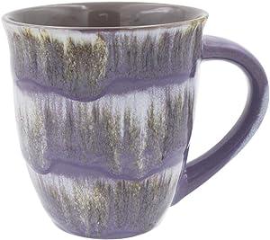 Mug Creative Glazed Ceramic Coffee and Tea Cup with Handle - Gorgeous Artistic Unique Design Coffee Mugs 16 oz (Purple)