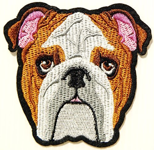 Boxer Dog Puppy Patch Iron on Sew Embroidered Applique Handmade Craft Art DIY Decorate Handmade Lady Women Kid Girl Clothing Jacket Vest T shirt Backpack Accessories Collection Costume Gift