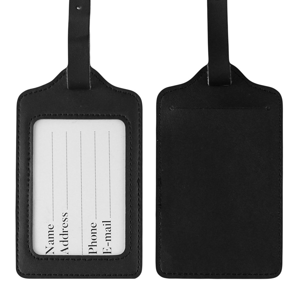 Lizimandu PU Leather Luggage Tags Suitcase Labels Bag Travel Accessories - Set of 2(Black)