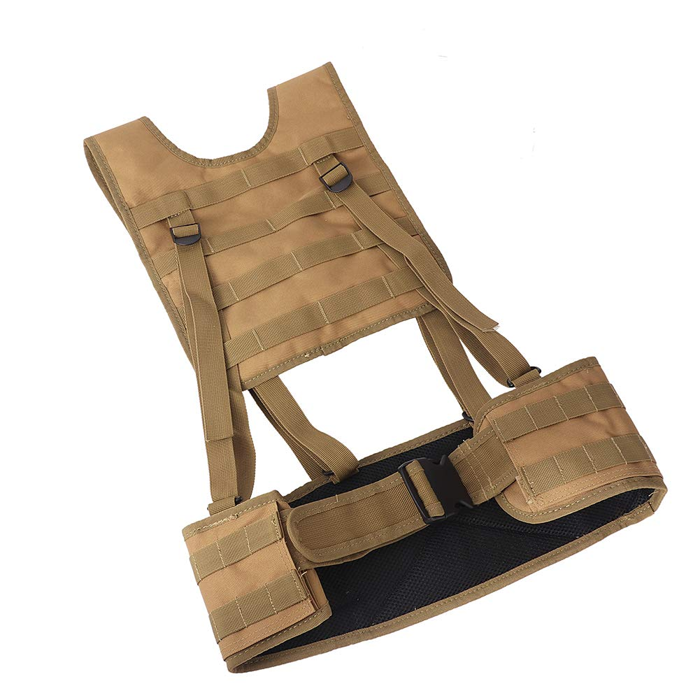 hothuishi Tactical Vest with Suspender Straps Airsoft Vest Suspenders Battle Belt Airsoft Chest Harness for Outdoor Training and Field Training Khaki by hothuishi