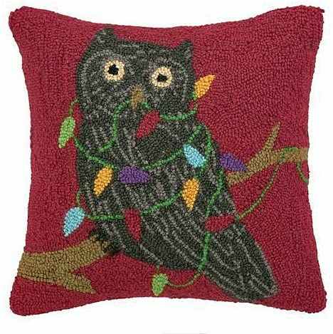 Peking Handicraft Forest Owl Holiday Lights Wool Hooked Christmas Throw Pillow – 16 x 16
