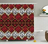 Ambesonne Safari Decor Shower Curtain Set, African Style Wild Animal Skin Stylized Stripes In Diamond Pattern Native Tribal Artwork, Bathroom Accessories, 75 Inches Longred Brown