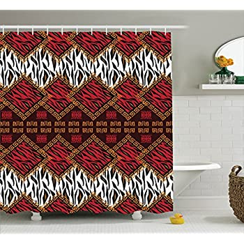 Ambesonne Quilt Shower Curtain Set Home Decor African Style Wild Animal Skin Print Stripes In