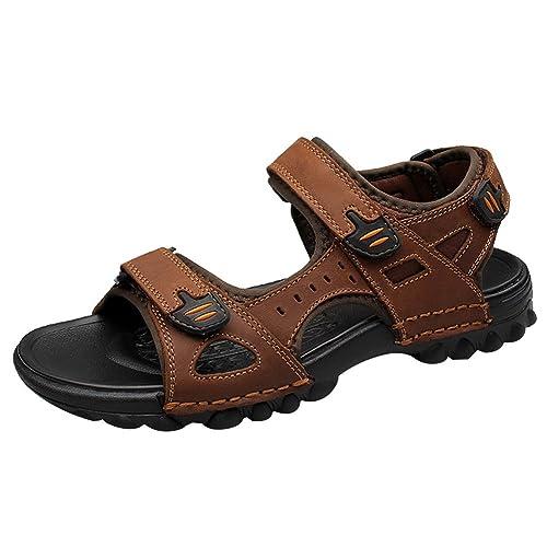 aeae273f3 Rismart Hombre Punta Abierta Casual Gancho y Bucle Intemperie Trekking  Cuero Sandalias Zapatos SN01413(Marrón
