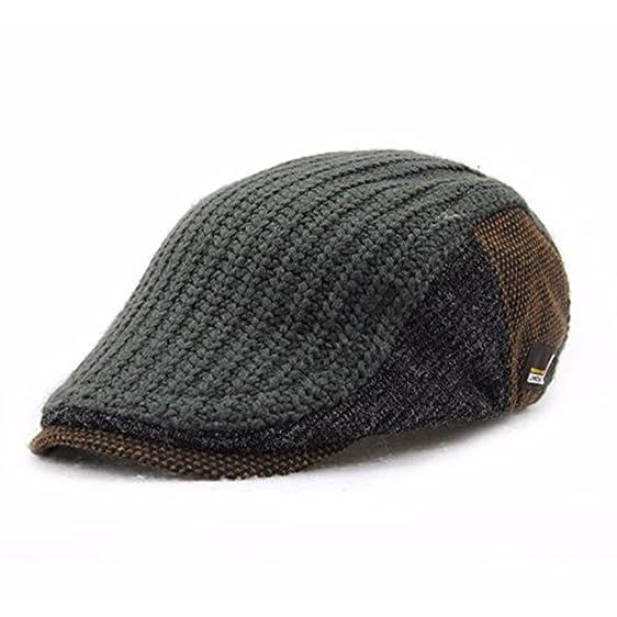 1d8166e5ce8 ... aliexpress kyson unisex knitted beret hat knitting buckle paper boy newsboy  cabbie gentleman visor cap dark