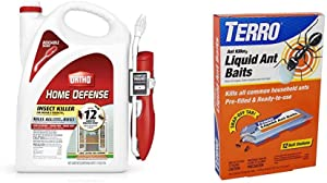 Ortho 0220910 Home Defense Insect Killer for Indoor & Perimeter2 with Comfort Wand Bonus Size, 1.1 GAL & TERRO T300B Liquid Ant Bait Ant Killer, 12 Bait Stations