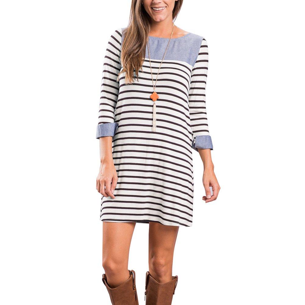 e3d6add6d949 Style: Women spring long sleeve midi striped tunic dress high low casual t shirt  dress, you can wear ...