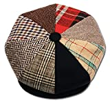 Mens Patchwork Wool Big Apple Duckbill Ivy Newsboy Irish Tweed Cap Hat (Medium)