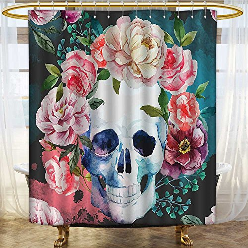 (Mikihome Shower Curtains Fabric Skull Design Skeletons All Saints Day Halloween Soft Pink Green Bathroom Decor Set with Hooks W72 x H72)