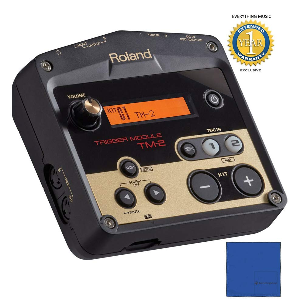 Roland TM-2 Trigger Module with Microfiber and Free EverythingMusic 1 Year Extended Warranty