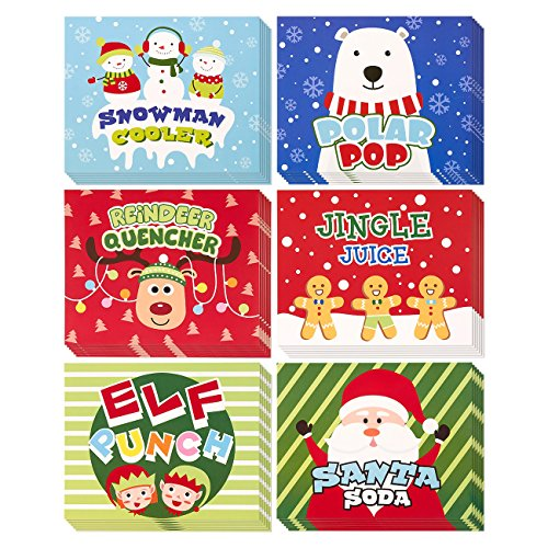 36-Pack of Christmas Soda Bottle Labels - Soda Label Stickers, Soda Theme Decorations, Festive Soda Bottle Labels, Assorted Designs - 7 x 5.7 Inches