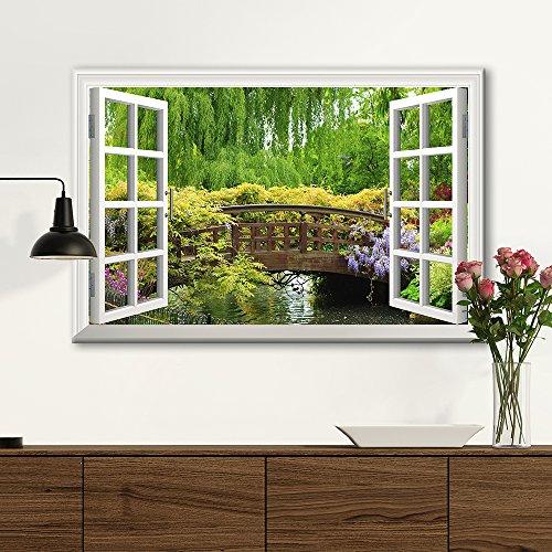 3D Visual Effect View Through Window Frame Japanese Style Bridge in a Beautiful Garden