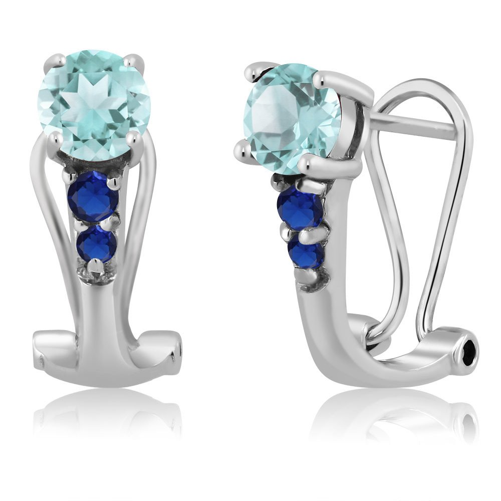 1.20 Ct Round Sky bluee Topaz bluee Simulated Sapphire 925 Silver Earrings