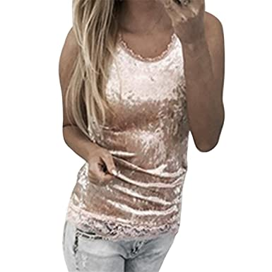 54b02123c47c Moonuy Frauen Tank Tops, Damen Sleeveless Samt Weste 2018 Fashion Casual  Lace Camisole Weste O