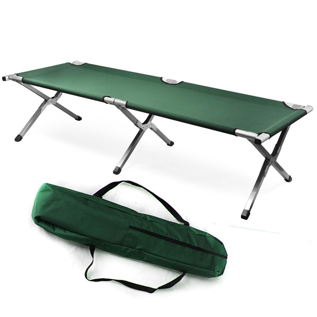 FCH Camping Cot Fordable Camping Cot for Tent With Carrying Bag, Green Portable Cot Bed for Kids/Adults Sleeping