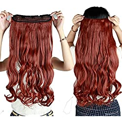 """S-noilite 24""""/26"""" Straight Curly 3/4 Full Head One Piece 5clips Clip in Hair Extensions Long Poplar Style for Xmas Gifts 22colors (24""""-Curly, auburn ginger)"""