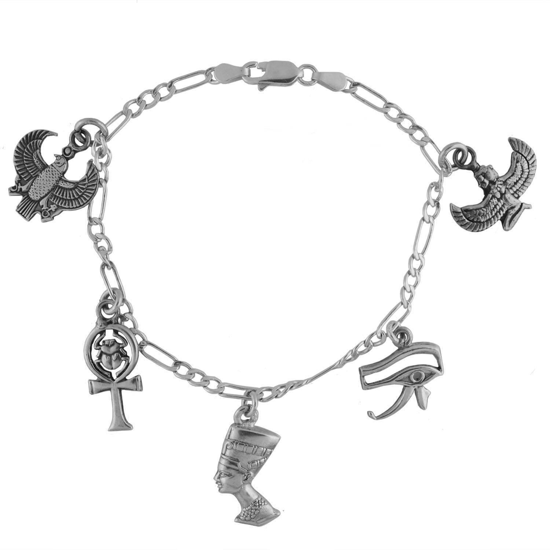 Amazon Egyptian Silver Ankh and Eye of Horus Charm Bracelet