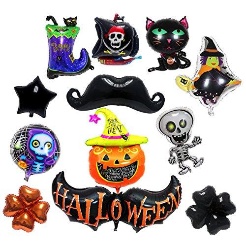 Signstek 12 Pcs Foil Balloons for Halloween Decoration, Ghost Inflatables, Children Kids Gift, (Wizard Air)