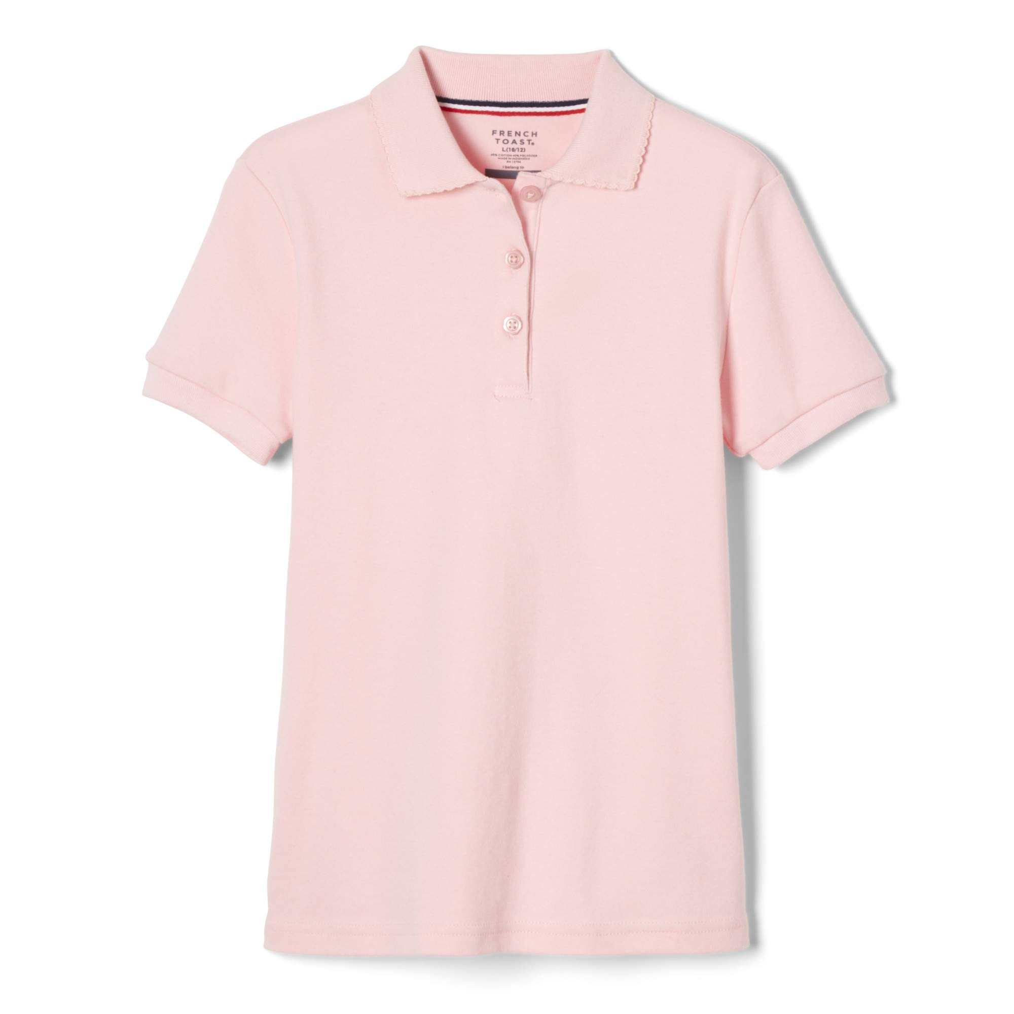 French Toast Girls' Big Short Sleeve Picot Collar Polo Shirt (Standard & Plus), Pink, XX-Large (18/20) by French Toast