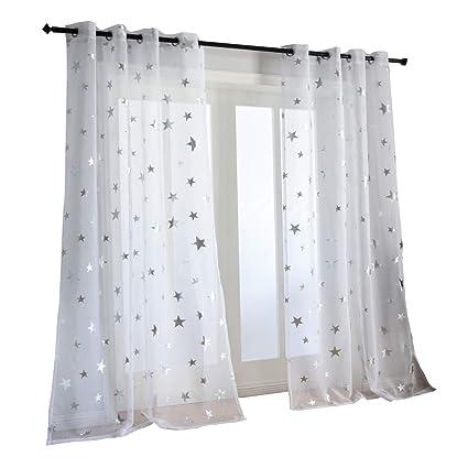 Amazoncom Kotile Silver Star Print 63 Inch Length 2 Panels White
