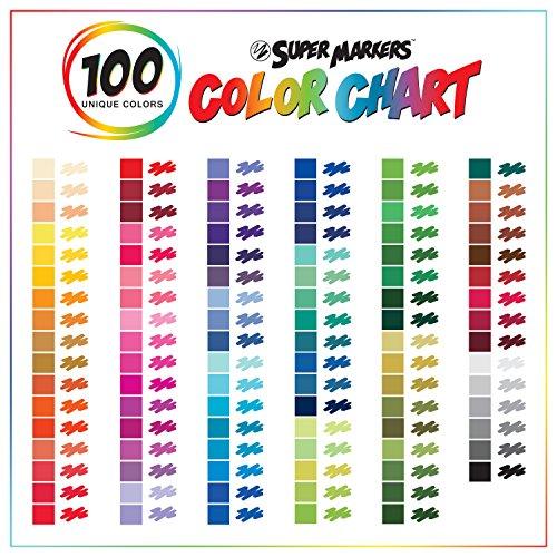 super markers set with 100 unique marker colors