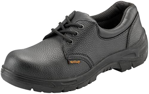 0fd9f5a4d1d Work Tough Safety Wear Unisex Black Leather Shoes With Steel Toe Cap ...