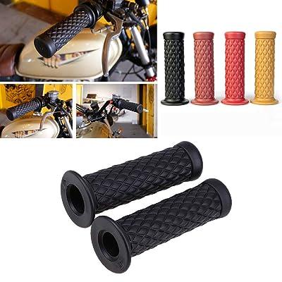 "Motorcycle Retro Comfortable Hand Handlebar 7/8"" 22mm 1""24mm Non Slip Rubber Handle Grips For Kawasaki Honda Yamaha: Automotive"